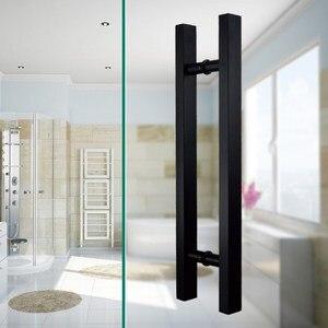 Image 5 - 24 סנטימטרים מודרני עגול בר סולם למשוך ידית נירוסטה הזזה אסם דלת ידית עבור 8 12mm זכוכית או 40 45mm עץ דלת