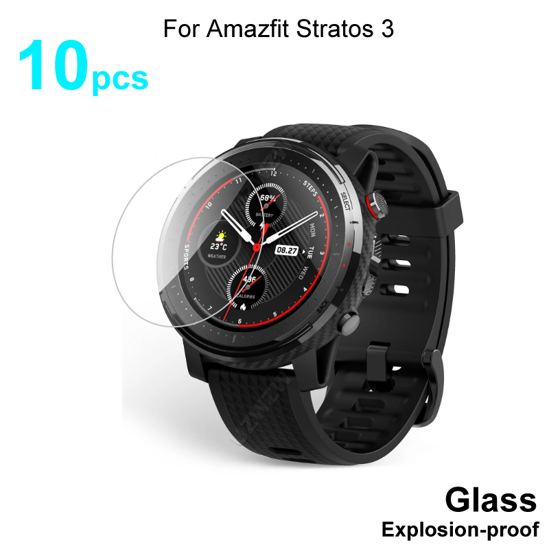 10pcs For Amazfit Stratos 3 Smart Watch Screen Protector Protective Tempered Glass Film Explosion-proof
