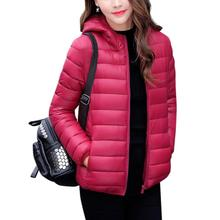 2019 Fashion Ultralight Parka Winter Basic Short Jacket Warm Thin Coat Feminino Padded Outerwear Solid Hooded Coats