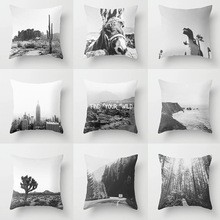 Single-sided Printing Retro Abstract Grey Pillow Case Black and White Landscape Alpaca Horse Cushion Cover Sofa Decoration Home