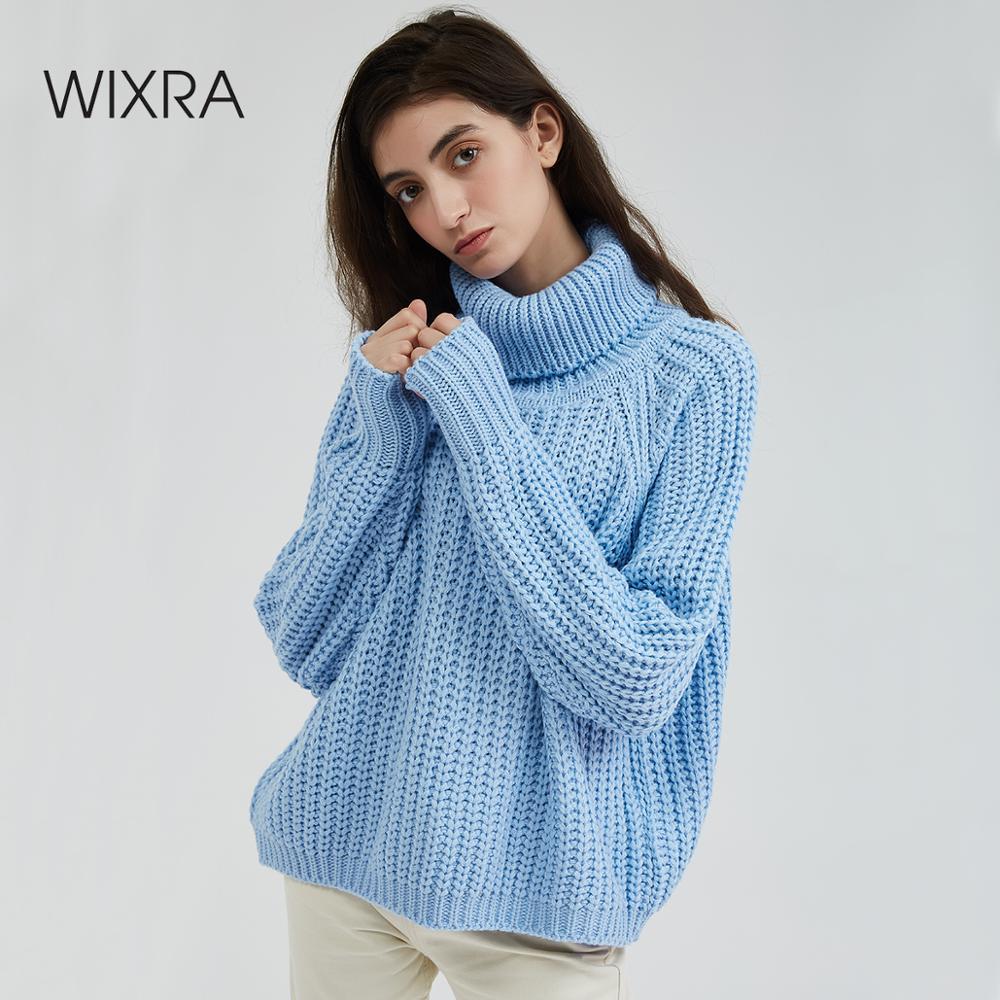 Wixra femmes col roulé gros chandail surdimensionné à manches longues femmes tricot chandails solide pull et pull 2019 automne hiver