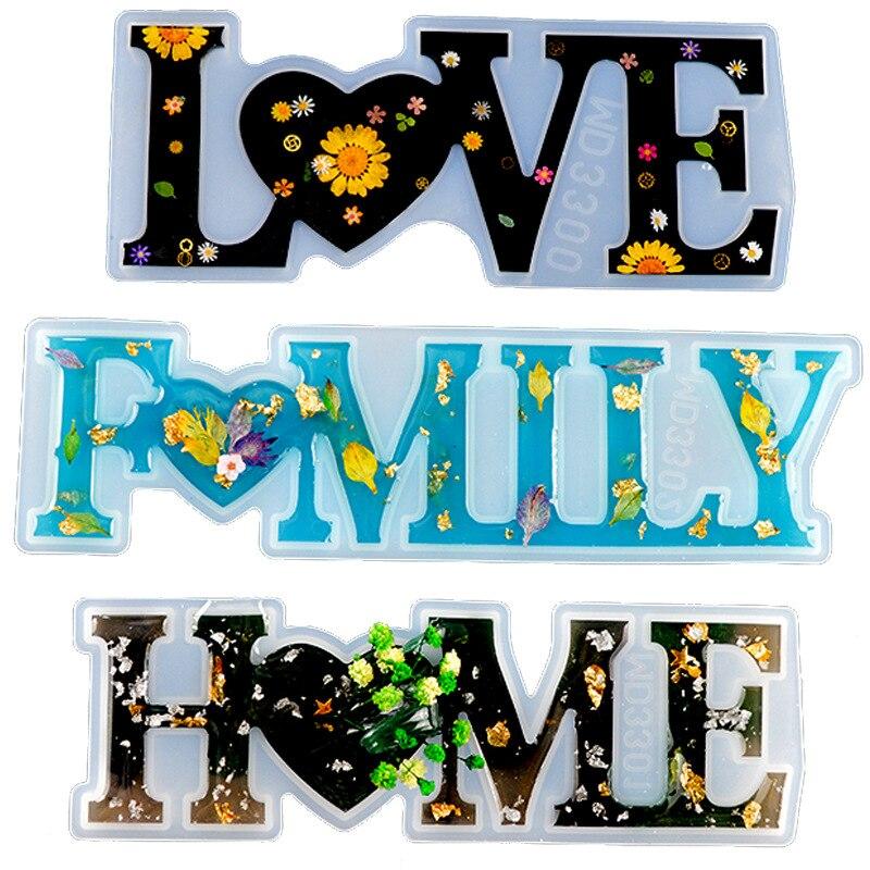 DIY English Word Combination Resin Mold HOME FAMILY LOVE Word Crystal Epoxy Mold