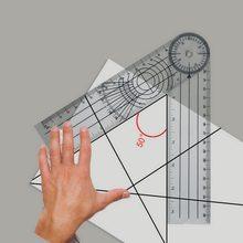 Multi-comprimento Livro Ângulo Goniômetro Governante Profissional de 360 Graus Ferramenta de Medição Régua Transferidor Transporte Rápido