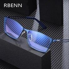Rbenn 2020 novo computador homem óculos de leitura alta qualidade metal quadro anti luz azul presbiopia + 0.5 0.75 1.25 1.75 5.0
