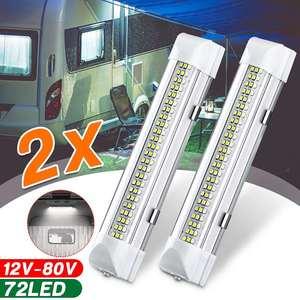 Image 1 - 12V 72 LED 차량 인테리어 스트립 조명 ON/OFF 스위치 바 자동차 밴 캐러밴 보트 트럭 트레일러 램프 야외 캠핑 홈