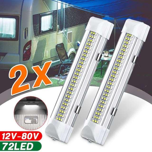 12V 72 LED 차량 인테리어 스트립 조명 ON/OFF 스위치 바 자동차 밴 캐러밴 보트 트럭 트레일러 램프 야외 캠핑 홈