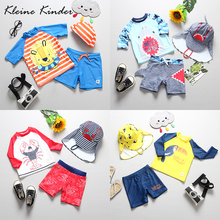 Baby Boy Swimwear 3 Pieces Childrens Swimsuit UPF50+ Sun UV Protection Long Sleeves Kids Bathing Suits Summer Beach Clothes