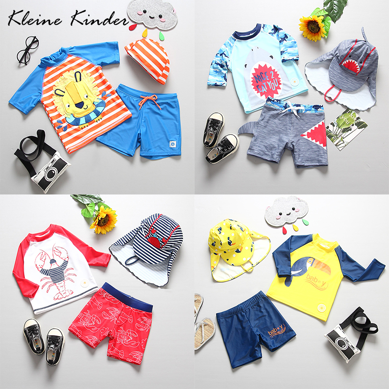 Baby Boy Swimwear 3 Pieces Children's Swimsuit UPF50+ Sun Protected Long Sleeves Infant Baby Toddler Boys Swimming Bathing Suit