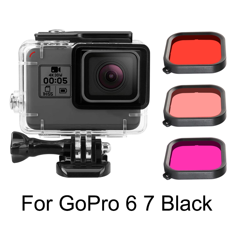 45 м водонепроницаемый чехол с фильтром для дайвинга для GoPro Hero 5 6 7 черная экшн-камера защита под водой аксессуары