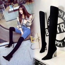 Women Winter Black Flock Sock Long Boots Over-the-Knee Pointed Toe Thigh Thick High Heels Sexy Club Short Plush Booties