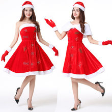 Christmas Hooded Dress With Belt Sexy Women's Christmas Costume Santa Costume Short Sleeve Plush Warm Hooded Fancy Pleated Dress(China)
