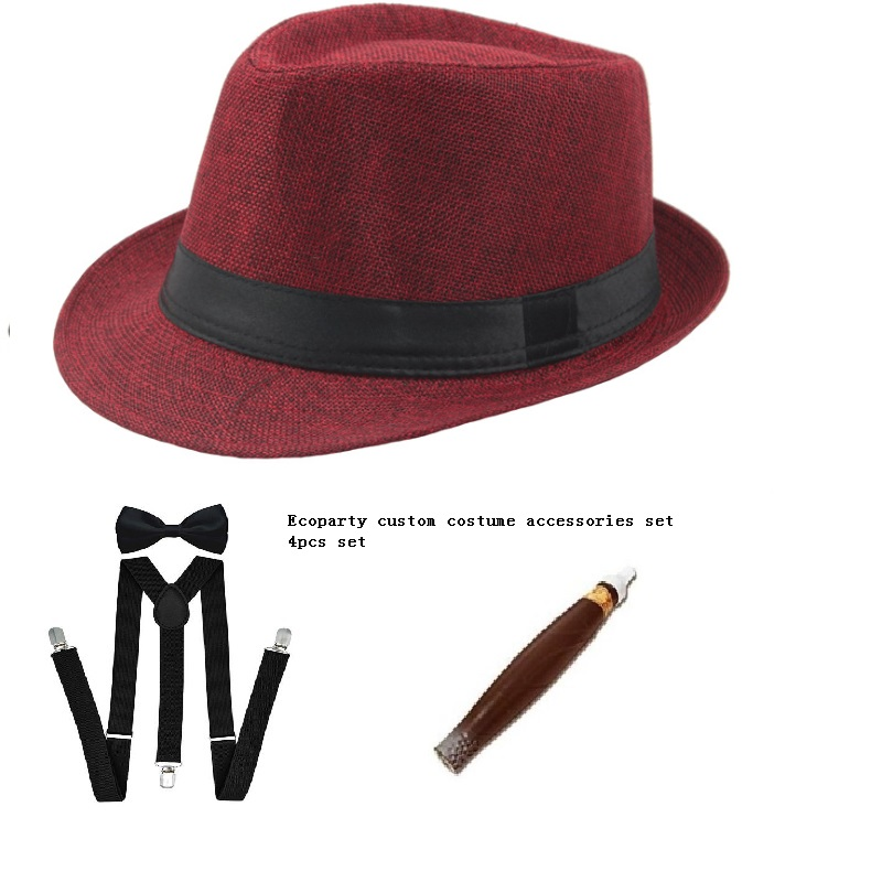MENS GANGSTER PANAMA HAT TIE CIGAR 1920'S MAFIA ADULT FANCY DRESS COSTUME
