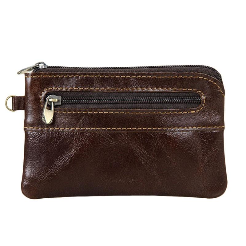 Man's WoMan's Genuine Leather Coin Purse Zipper Wallet Card Holder Vintage Retro