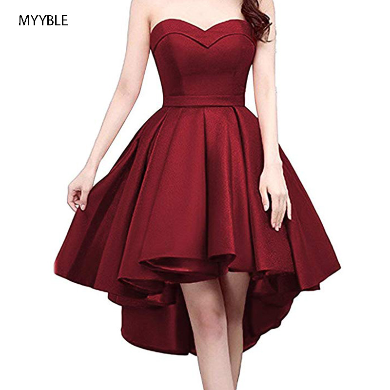 MYYBLE 2020 Short Strapless Prom Homecoming Dress Sweetheart High-Low Satin Party Gown