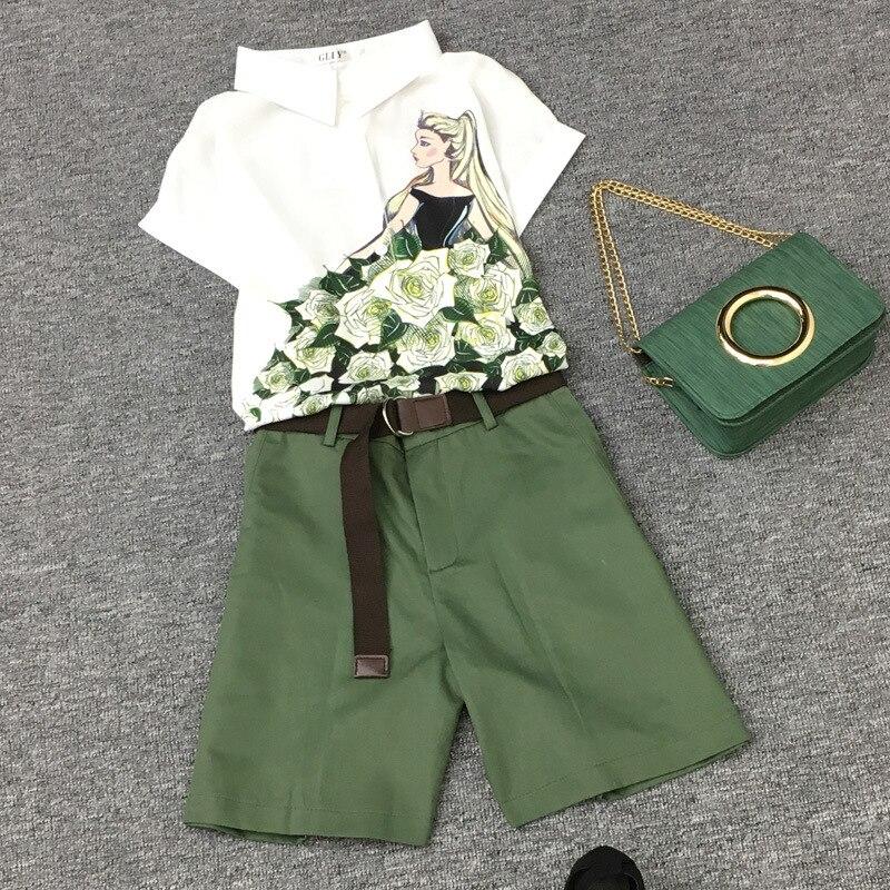 2020 Summer 2 pieces suits girl print chiffon blouse shirt women tops + shorts set Women two piece set tracksuit With Belt TZ22