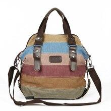 Ünlü marka kadın tuval omuz çantaları moda postacı çantası rahat plaj çantası çizgili alışveriş Tote çanta Bolsos Mujer