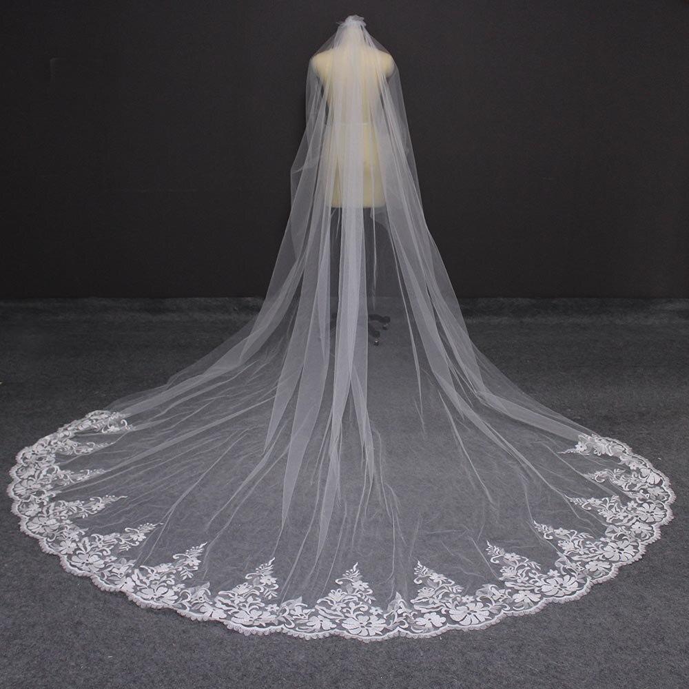 Long 3 Meters Lace Wedding Veil One Layer Ivory Bridal Veil With Comb 300cm Veil For Bride Veu De Noiva
