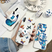 Holder Stand Silicone Case For Huawei P40 P30 P20 Lite E Pro Plus P Smart 2019 2020 Honor Play 9S 9A Y5P Y6P Butterfly Girl Case