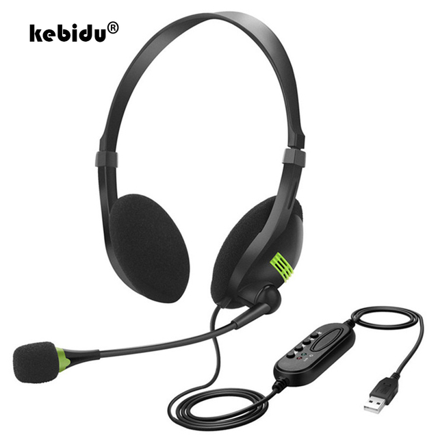 kebidu 3.5mm Noise Cancelling Wired Headphones Microphone Universal USB Headset With Microphone For PC /Laptop/Computer 1