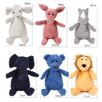 Corduroy Dog Toys for Small Large Dogs Animal Shape Plush Pet Puppy Squeaky Chew Bite Resistant Toy Pets Accessories Supplies 4