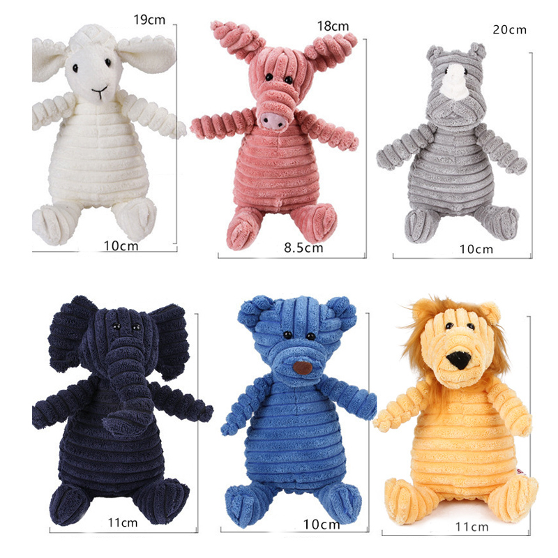 Corduroy Dog Toys for Small Large Dogs Animal Shape Plush Pet Puppy Squeaky Chew Bite Resistant Toy Pets Accessories Supplies