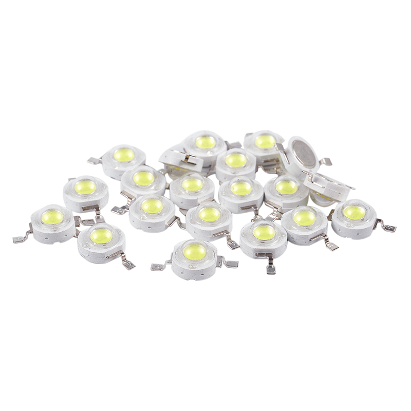 20 Pcs High Power 2 Pin 3W White LED Bead Emitters 170-190Lm 6000K