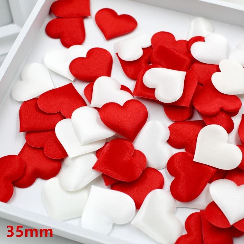 100pcs 3.5cm DIY Heart petals wedding decorations Satin Heart Shaped Fabric Artificial flower petals wedding decor supplies(China)