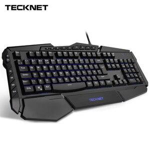 Image 1 - Clavier de jeu Programmable TeckNet led 7 couleurs claviers de jeu rétroéclairés arc en ciel conception résistante à leau disposition britannique pour Windows