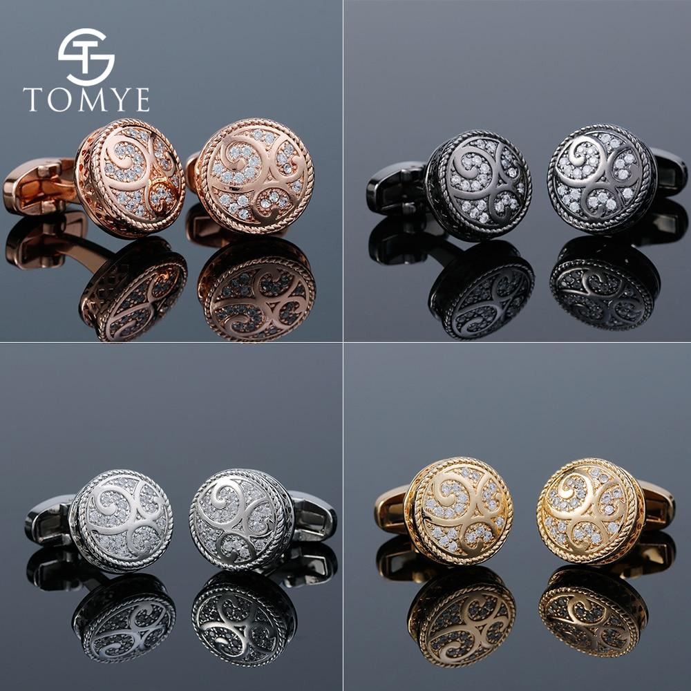 TOMYE Men's Cufflinks Luxury 4style Black Gold Silver Rose Gold Round Crystals Wedding Cuff Links Shirt Jewelry XK19S070