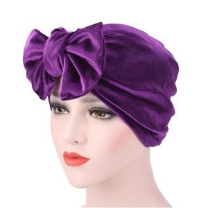 Image 3 - Fashion Women Bow bowknot Hijab Velvet Cap Chemo Hat Headband Muslim Turban Bandanas for Wedding Party Hair Accessories mujer