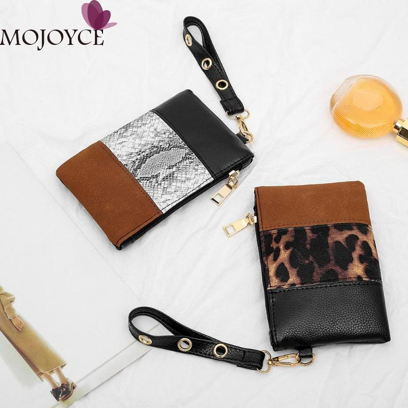 Fashion Women PU Leather Handbag Snake Leopard Splicing Money Purse Wrist Clutch Ladies Daily Small Wallet