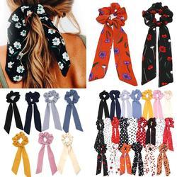 Boho Style Printed Ribbon Bow Hair Scrunchies Elastic Hair Bands Women Elegant Polka Dot Knotted Scarf Hair Accessories Headwear