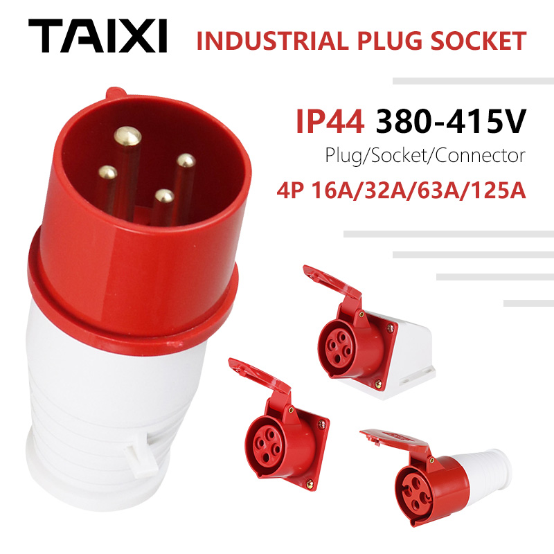 Waterproof Industrial Socket 4P 16A 32A 63A 125A Plug Connector Box Use 380V <font><b>400V</b></font> 415V <font><b>4</b></font> Needles Outdoor Aviation Plug image