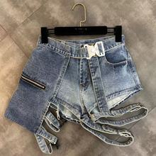 Summer New Belt Decorative Leg Ring Fashion Wash Jeans Shorts Women Fashion Denim Hot Pants Girls Lady Denim Shorts bleach wash ruffle denim shorts