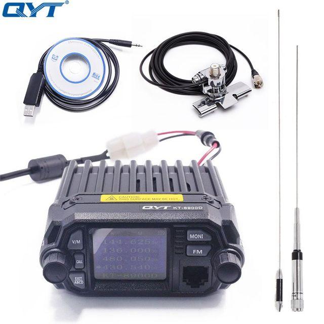 QYT KT 8900D الملونة جهاز مرسل ومستقبل صغير رباعية عرض مطورة من KT 8900R 25W ثنائي الموجات UHF/VHF راديو السيارة المتنقلة KT 8900D