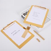 1 шт. Высокое качество Золотой Металл Бизнес A4 папка для файлов клип доска стол Документ Органайзер для бумаг клип доска для рисования канцелярские принадлежности