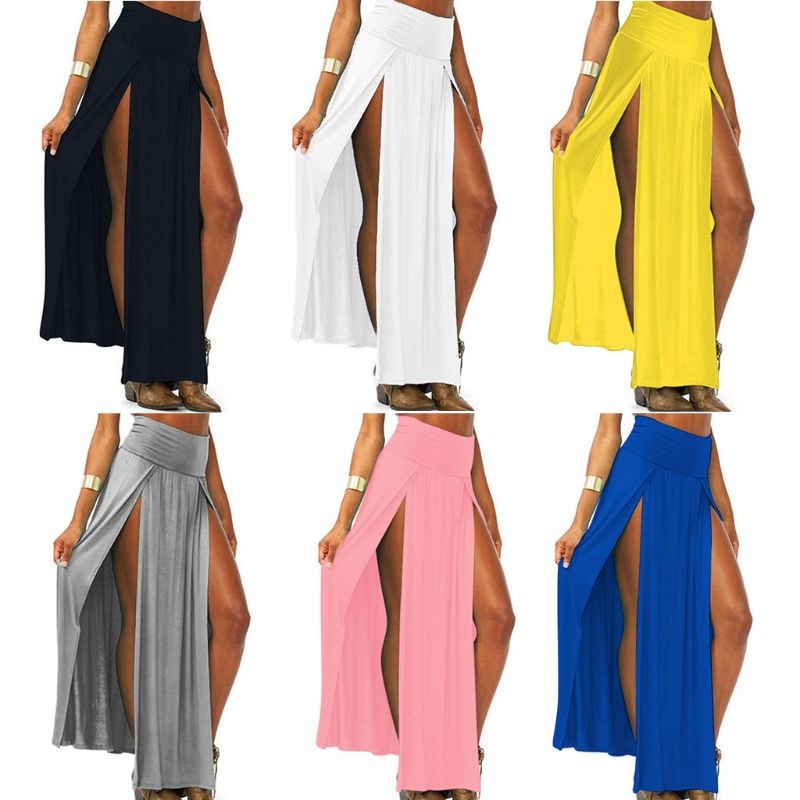 Womens High Waist Sexy Double Slit Front Open Knit Maxi Long Skirt Solid Color Pleated Irregular Hem Beach Skirt Bikini Cover Up