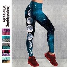 Taille haute Fitness Leggings femmes 3D lune impression mode Leggins pousser Sexy cheville longueur pantalon élasticité Legging pantalon