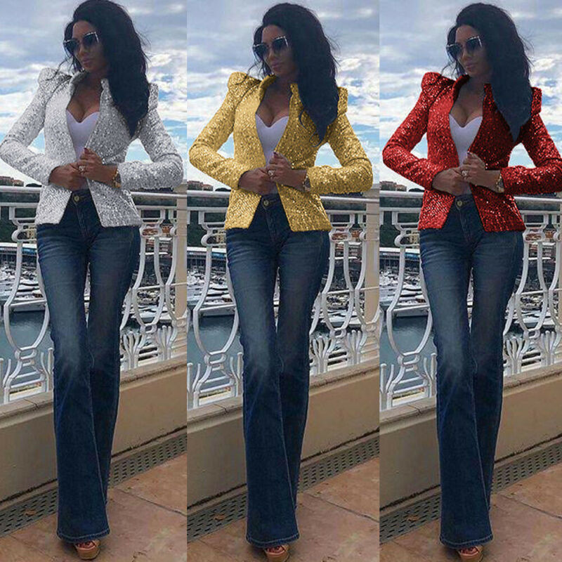 New Fashion Women Elegant Slim Suit Casual Business Jacket Short Coat Tops Outwear Solid Long Sleeve Career Sequins Formal Coat