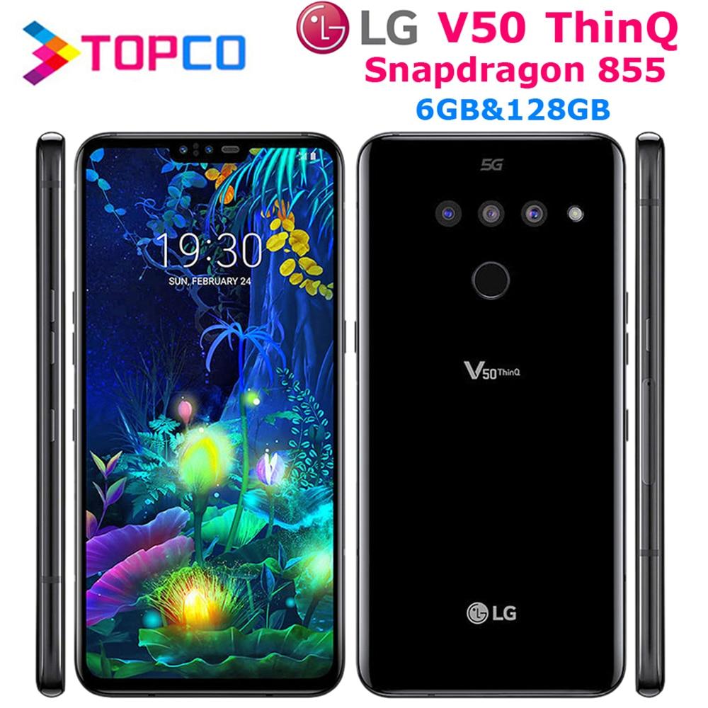 "LG V50 ThinQ V500N orijinal Unlocked LTE NFC Android telefon Snapdragon 855 Octa çekirdek 6.4 ""üçlü kameralar 6GB 128GB parmak izi"