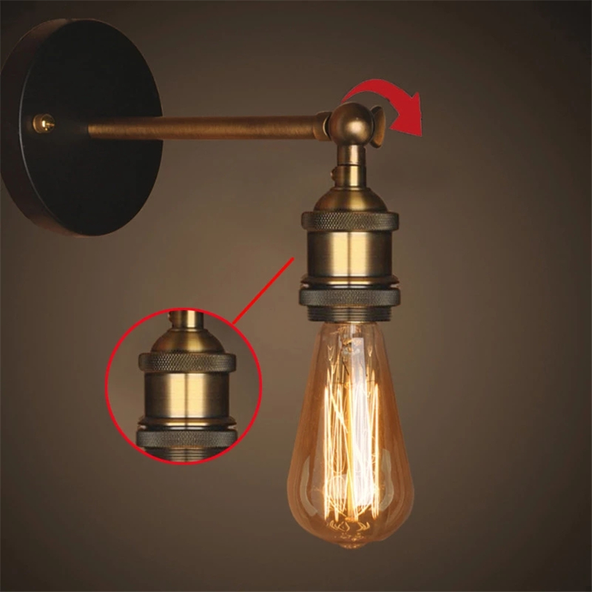 American Wall Light Vintage Iron Loft Study Foyer Dining Room Wandlamp Retro Bedroom Deco Bedside Led Indoor Wall Lamp Luminaire in Wall Lamps from Lights Lighting