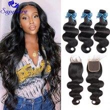 Сапфировые волнистые пучки с застежкой, бразильские волосы, пупряди с застежкой, человеческие волосы, пучки с застежкой, наращивание волос