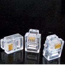 100PCS Durable RJ11 6P4C Modular Plugs Jack 4 Core Telephone Network Cable Connectors Crystal Head rj11 6p4c telephone cable cord adsl modem 5 meters