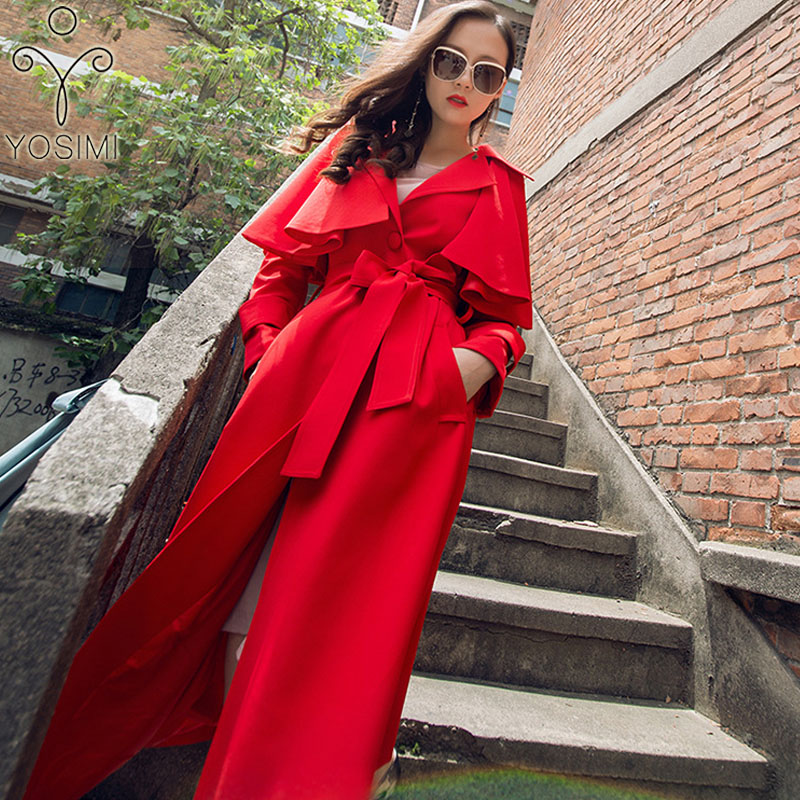 YOSIMI 2019 Autumn Winter Women Wild Long   Trench   Coat Long Outerwear Red Skirt Clothes with Belt Maxi Elegant Female Windbreaker