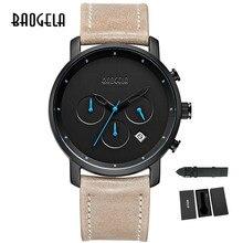 Baogela хронограф мужские часы Топ бренд класса люкс кожаный ремешок Детские Спортивные кварцевые наручные часы многофункциональные наручные часы