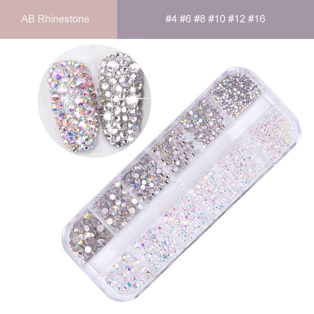 1 коробка AB, Кристалл, плоская задняя сторона, Прозрачный Стразы, драгоценный камень, 3D плоское дно, сверкающие блестящие украшения для дизай...