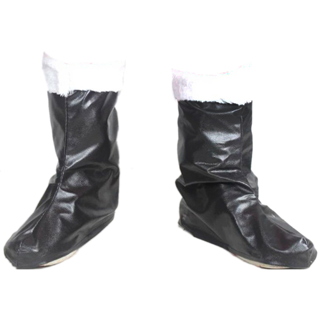 Santa Claus Costume Boots Christmas Holiday Props Boots Black