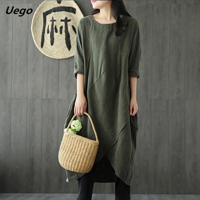 Uego Linen Cotton Dress Plus Size M-5XL Loose Dress Solid Color Long Sleeve Autumn Dress Vintage Women Dress Femeal Spring Dress 1