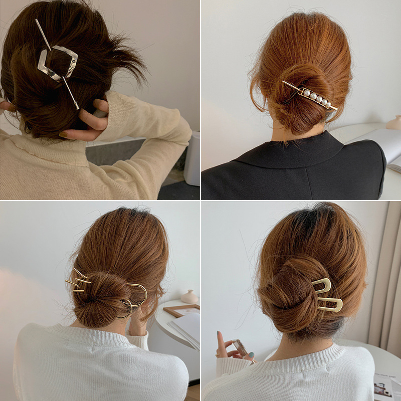 Simple personality metal hairpin with retro plate hairpin ins balls hairpin hairpin for female