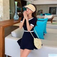 Maiô feminino liso de manga curta, roupa de banho de uma peça estilo coreano, monquíni ou maiô preto, push up